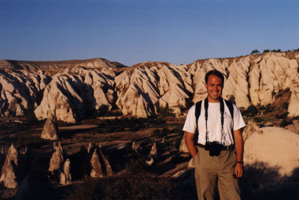 Andy poses near tufa landscape