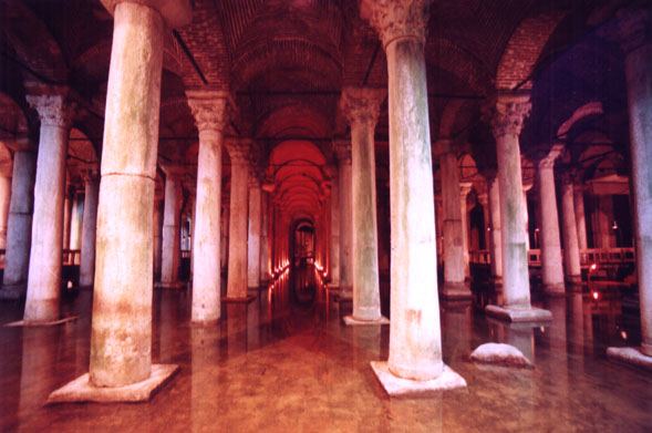 rows of columns dominate an underground cistern