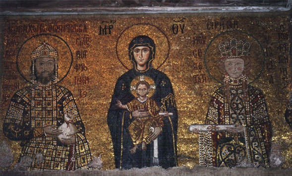 golden fresco of madonna and child with Constantine and Theodora