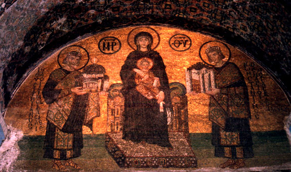 Golden mural of Madonna and child, with Constantine and Justinian