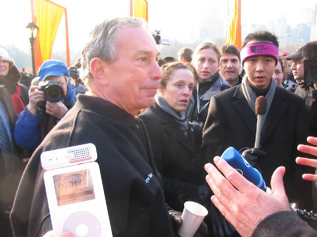 Self Portrait on iPod, with Mayor Bloomberg in background