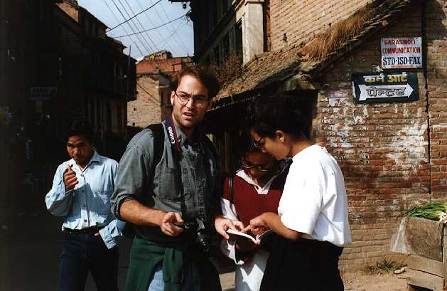 Andy, lost with two Nepali women