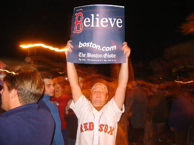 Red Sox fan celebrating
